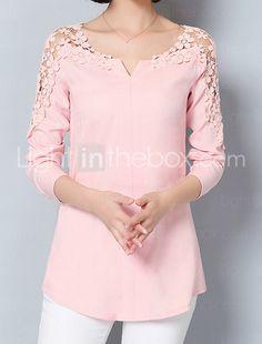 Feminino Camisa Social Para Noite Formal Trabalho Sensual Moda de Rua Sofisticado Todas as Estações Primavera,SólidoAzul Rosa Branco de 5569150 2017 por €10.97