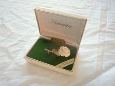 Vintage Krementz Brooch Carved Ivory Rose 14k Gold Overlay via Once Upon A Gem.  Rare!