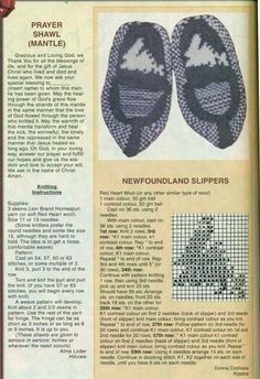 newfoundland knitting patterns for slippers Loom Knitting Projects, Knitting Designs, Knitting Patterns Free, Knit Patterns, Knitting Socks, Hand Knitting, Crochet Christmas Stocking Pattern, Mittens Pattern, Knitted Slippers