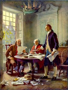 Writing the Decleration of independence, 1776.