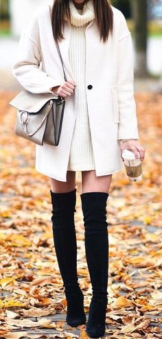 #fall #outfits White Coat // Black Knee Length Boots // Neck Cowl Dress