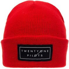 Twenty One Pilots Knitted Logo Beanie (Red) ($21) ❤ liked on Polyvore featuring accessories, hats, red beanie, 20s hats, 1920s style hats, beanie hats and logo hats