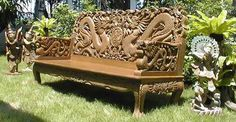 Intricately-carved Dragon Settee - part of 10-piece Garden Suite