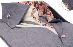 Gray Denim Shirt Twisted Denim Floral Printed Lining Urban Collar  $89.90 Men's Fashion
