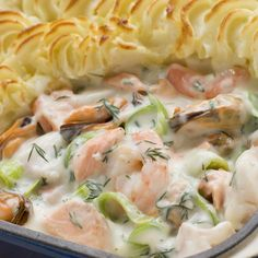 This seafood pie recipe is so creamy and flavorful. It is a must try for seafood lovers and a wonderful meal to serve on a Sunday night.. Seafood Pie Recipe from Grandmothers Kitchen.