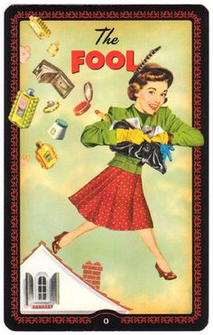"""The Housewives Tarot is a hilarious domestic divination kit that comes in an attractive """"recipe"""" box. The recipe dividers separate the Major Arcana, Minor Arcana, and the instruction book. Tarot The Fool, Pet Psychic, All Tarot Cards, Psychic Mediums, Tarot Spreads, Major Arcana, Take The First Step, Oracle Cards, Estilo Retro"""