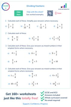 A nice worksheet on dividing fractions. Click to get 160+ worksheets just like this totally free! #maths #education #learning #gcse #fractions #student #teacher #revision #study #mathsexam #gcserevision #mathematics #learning #tests #school Completing The Square, Maths Exam, Gcse Revision, Dividing Fractions, Math Boards, Fractions Worksheets, Math Notes, Kids Homework, Student Teacher