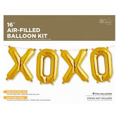 All the balloons you need to spell the phraseXOXO These self-sealing air-filled balloons feature tabs at the top that allow them to be strung together to form
