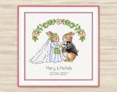Wedding rabbits Personalised Cross Stitch Pattern by TimeForStitch