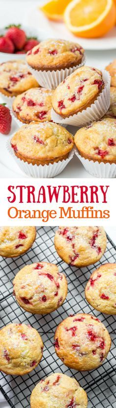 Orange Strawberry Muffins ~ made with fresh-picked strawberries, fresh squeezed orange juice and plenty of orange zest, these muffins have a light, and moist texture from the rich sour cream batter. The flavor is robust, with distinct notes of orange and strawberry. Not overly sweet, these muffins do well with a sprinkle of coarse sugar on top. www.savingdessert.com