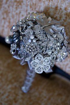 Silver brooch bouquet.