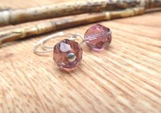 Lilac Jewellery, Handmade Jewelry, Faceted Beads, Czech Dangle Earrings by sparkles4life on Etsy