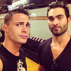 coltonlhaynes And we're soaked. tylerl_hoechlin and I r currently ringing out our clothes in a NYC hotel lobby bathroom