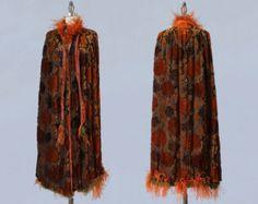 anni 1920 cappotto / AMAZING 20s Flapper Cape / floccato velluto e piume di struzzo