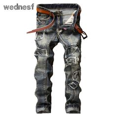>> Click to Buy << #1948 Patchwork Punk Fake designer clothes Fashion Vintage blue Straight Homme Mens biker jeans Skinny ripped jeans for men #Affiliate