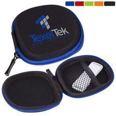LT-3682  Tough Tech Pocket Pouch. Rigid EVA plastic shell with microfiber cover. Internal elastic mesh pocket. Zippered closure. Ideal for holding ear buds, charging cables, loose change or other personal items