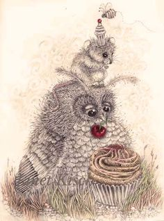 party time for a cupcake owl and his little friend.Janet Kisch https://www.facebook.com/pages/Once-Upon/122225247945788?ref=hl