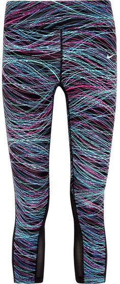 4f2450768f7530 Nike - Printed Dri-fit Stretch-jersey Leggings - Blue Stroje Treningowe,  Odzież
