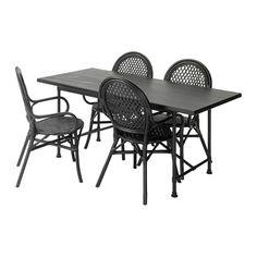 IKEA - RYGGESTAD/KARPALUND / ÄLMSTA, Pöytä + 4 tuolia, Oksankohdat ja muut puun luonnolliset kuviot ovat näkyvissä, mikä tekee pinnasta elävän ja luonnollisen.Kokoamisen helpottamiseksi pöytälevyssä on valmiit reiät jalustaa varten.