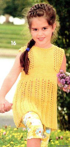 Жёлтый сарафан для девочки спицами