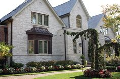 Waukesha White Natural Stone Veneer, Natural Stones, Transformation Project, Exterior Paint Colors, Home Additions, Brick, Mansions, The Originals, House Styles