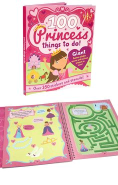 """The """"100 Princess Things to Do"""" children's activity book is filled with mazes, coloring pages, and other activities keep kids learning and having fun"""