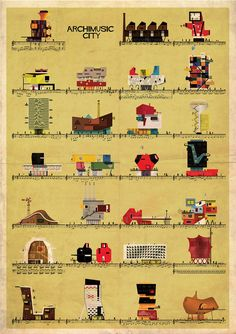 Barcelona-based illustrator and architect Federico Babina has created Archimusic, a series of illustrations that imagine famous music artists as Jimi Hendrix, Seven Nation Army, Beatles, City Framed Art, Framed Art Prints, Architecture Images, Architecture Drawings, Architecture Illustrations, Contemporary Architecture