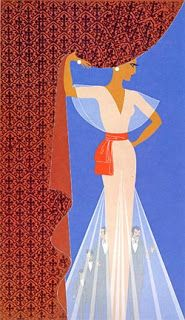 1982 Erte Art Deco Double Sided Print Woman Holding Back Brown Curtain Evening Dress Diaphanous Cape Pleats Book Print Book Illustration Art Deco Illustration, Art Illustrations, Art Deco Print, Art Deco Design, Arte Fashion, Art Deco Fashion, Fashion Prints, Erte Art, Romain De Tirtoff