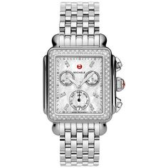 MWW06P000099 New Michele Deco Day Ladies Quartz Watch ($1,395) via Polyvore featuring jewelry, watches, chronograph wrist watch, dial watches, art deco watches, chronos watch and art deco jewellery