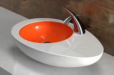 Amin answers the chicken/egg question with the Eggy Sink, though many will remain confused. The Eggy Sink, like the Swan Vessel sink, includes unique polished chrome hardware.