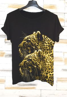 NEW COLLECTION Spring 2016 Jaguar Black Fashion T-shirt / Animal Tee / HandMade Oversize White T-Shirt / Casual top by Eugoriashop