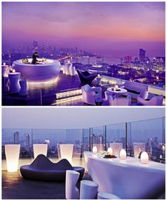 Mumbai's highest rooftop bar is perched atop the chic Four Seasons Hotel, covering the entire roof of the floor. Aer features modern white furniture and a glass balcony wall that might just give you a little bit of vertigo if you approach it too quick Rooftop Design, Rooftop Lounge, Rooftop Restaurant, Rooftop Pool, Bar Lounge, Restaurant Design, Rooftop Gardens, Restaurant Lighting, Architecture Romane