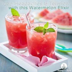 Mmm... sounds perfect for the #patio! Zap #Headaches & Tension with this #Watermelon Elixir - pinned from YoungandRaw.com