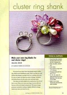 make your own ring blanks for cool cluster rings  Wire Jewelry Step by Step N02 - 2007