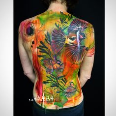 Birds and Flowers watercolor back piece. Smudges and Scratches. Paint and drips.   http://www.ivanatattooart.com   http://instagram.com/ivanatattooart  https://www.facebook.com/pages/Ivana-Tattoo-Art/208943449123095  http://pinterest.com/ivanatattooart/ivana-tattoo-art/  http://www.tumblr.com/blog/ivanatattooart  https://twitter.com/IvanaTattooArt  https://www.youtube.com/channel/UCVBBHNIxheDodn0-T9cd_Sw?view_as=subscriber