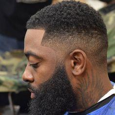 High Shadow Fade with Thick Beard