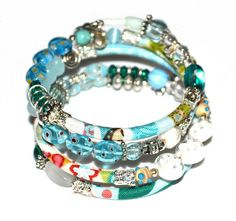 Blue teal white and silver adjustable wrap di PurpleTurtleStore, $50.00