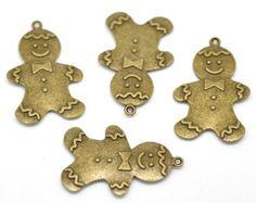 Gingerbread Man Charm - Set of 4 - #HK1037