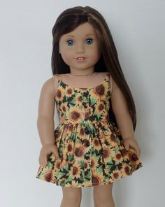 Sunflower Dress for American Girl Dolls by BuzzinBea on Etsy