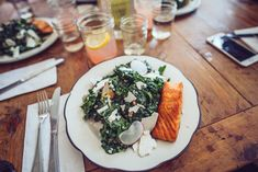 Kale salad with salmon, Bubby's, New York