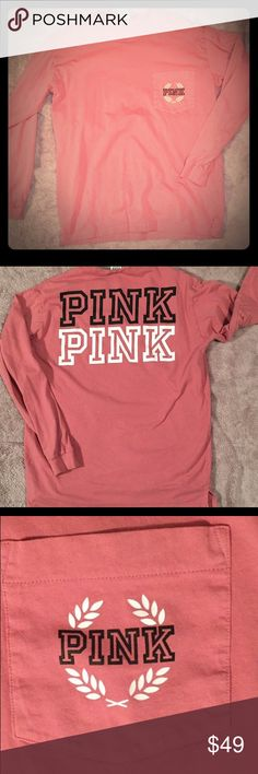 VS PINK long sleeve T Super comfy, very stylish, rare find, VS PINK long sleeved T shirt. The material is of medium thickness, its long and slim fitting, size medium,  :) can fit large though! SOFT BEGONIA ❤️❤️ PINK Victoria's Secret Tops Tees - Long Sleeve