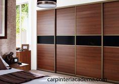 closet sliding doors for bedrooms designs | Frente de armario empotrado con puertas en melamina cerezo y franja de ...