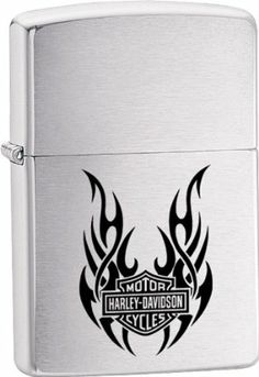 """Zippo Harley Davidson. by Zippo. $18.00. Zippo Harley Davidson. Tribal Wings. Brushed Chrome finish.   These world famous lighters are made in the USA, feature wind resistant lighting and an unconditional lifetime guarantee. Regular Zippo's measure 21/4"""" x 17/16"""", slim models measure 21/4"""" x 11/8"""". Weight: 0.2lbs"""