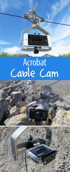 An all-angles trolley for your camera? Yes! Gives you a way to film rolling or panning shots from both a bird's eye or worm's eye view. Use it on a zip line, pull it along, or hold it in your hands.