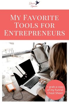 As an entrepreneur with an online business, there are a LOT of tools that I use regularly to help my online business run smoothly and to help me get things done faster. In this post I want to cover my favorite tools for entrepreneurs. Repin and grab a copy of my funnel cheat sheet! #dawnapuan #sales #onlinebusiness Entrepreneur Books, Online Entrepreneur, Business Planner, Business Tips, Social Media Tips, Social Media Marketing, Management Tips, Business Management, How To Get Clients
