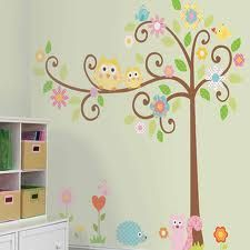 Vogel, reminds me of your bedding.Owls Scroll Tree Wall Decals for Kids Rooms - Owl-themed Nursery - Owl Nursery Decor - Large Adhesive Owl Tree Wall Decals for Nursery, Kid's Room or a Playroom Owl Nursery Decor, Nursery Themes, Decor Room, Nursery Room, Girl Nursery, Bedroom Wall, Girls Bedroom, Wall Decor, Themed Nursery