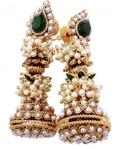 $40 Look traditional in this pearl studded jhumka. Gold Plated metal with Green Stone and faux Pearl baby beads adorns the earrings. Push back closure.    Length 6 , Width 6.5