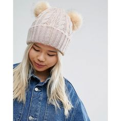 ASOS Cable Faux Fur Double Pom Beanie ($19) ❤ liked on Polyvore featuring accessories, hats, grey, gray beanie, grey pom pom hat, pom pom beanie, pom pom hat and grey beanie hat