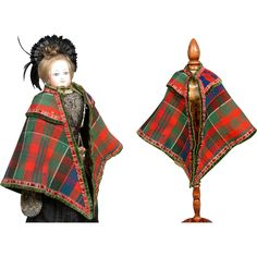 Beyond Exquisite 1870's Christmas Tartan French Fashion Doll Cape from kathylibratysantiques on Ruby Lane