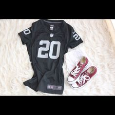 Women's Raider Jersey Super cute Nike on field jersey. In excellent condition. I wore it maybe three times. It's fitted so very flattering on a female. Please note that McFadden no longer plays for the Raiders, but if you're wearing it just for looks, it's perfect! I looked online and the jersey is still selling on select reputable websites. Nike Tops